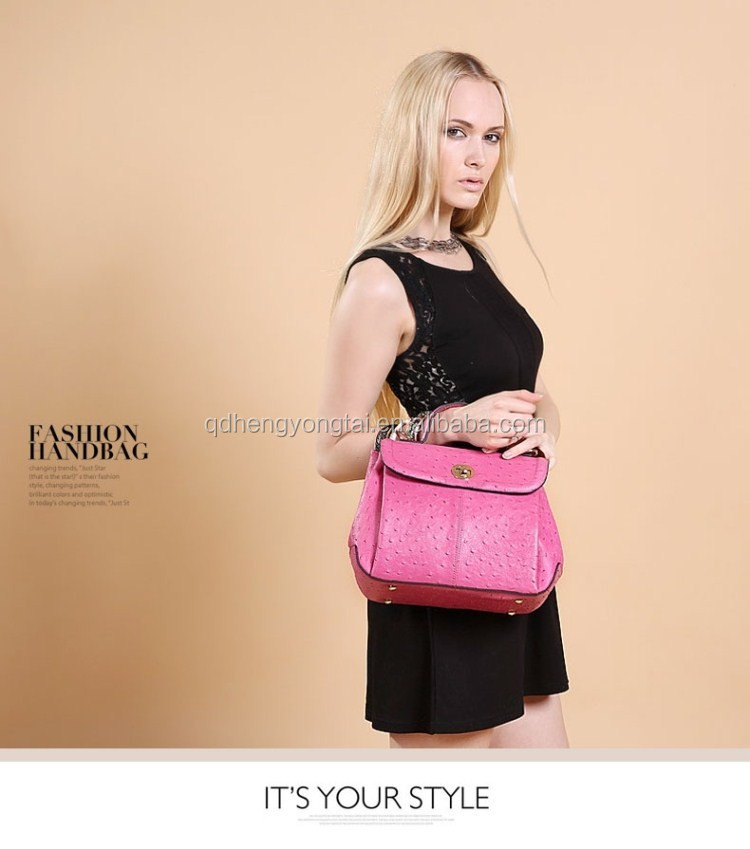 new arrival fashion lady ostrich tote bag with short handle and shoulder strap multi function woman bag