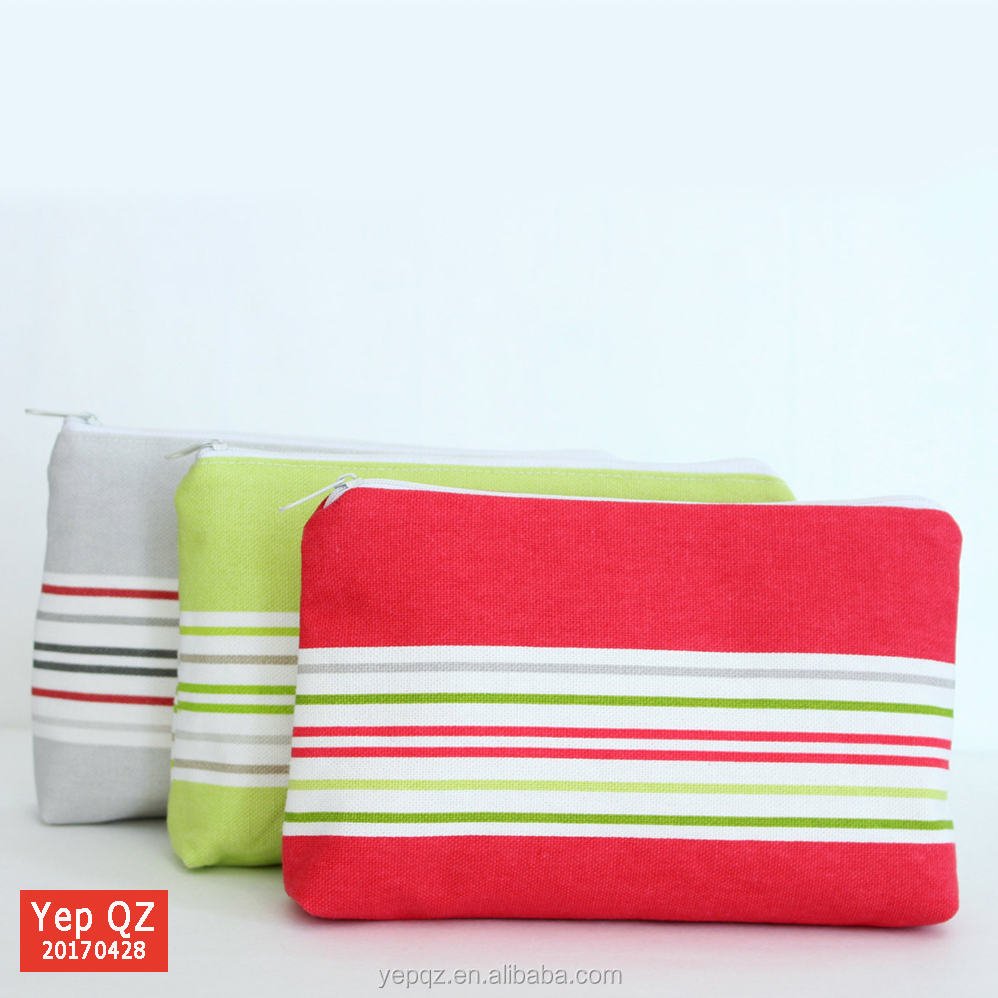 customised logo cute small cotton striped cosmetic bag