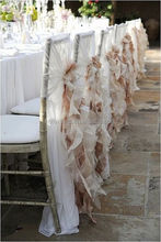 Fashionable design wholesale blush chiffon ruffled wedding chair cover sash with hood