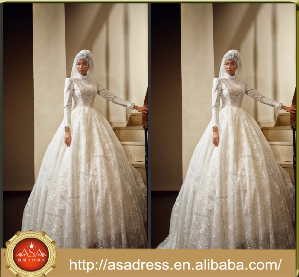 MUSL-1889 Gorgeous bridal gowns from Dubai Gelinlik Lace Long sleeve Beading Bridal hijab Muslim Wedding Dress 2017