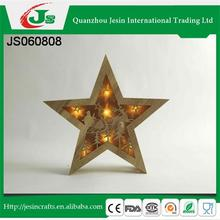 Wooden Christmas star decoration with Santa claus and deer pattern and led lights