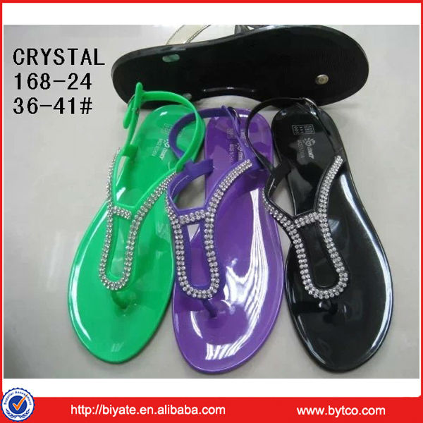 Hot sale ladies crystal pvc jelly sandals