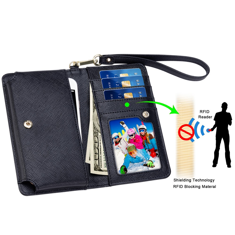 Factory supply lady green PU leather universal bags RFID blocking hand bag