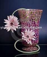 Modern Handmade Silvery Mirrored Mosaic Flower Glass Vase