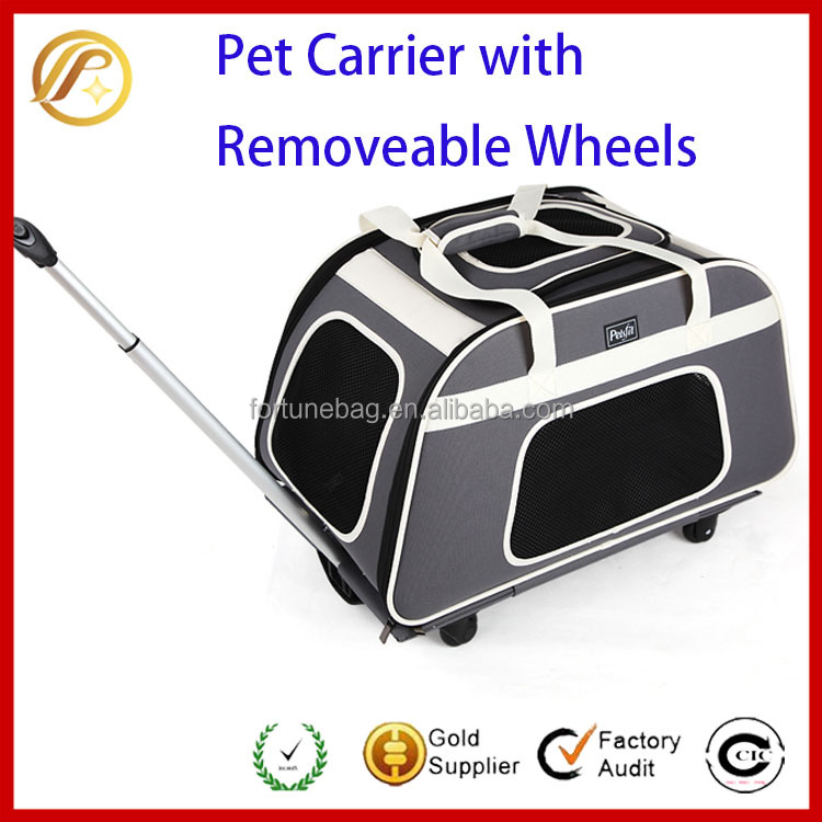 China Manufacturer Foldable Pet Carrier with Removeable Wheels,Soft Sided Dog Carrier
