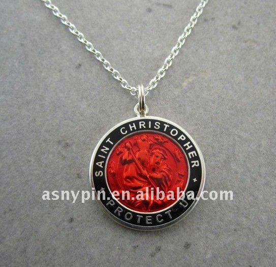 Large St. Christopher Medal Necklace- PLAIN BACK- Buyer's choice of 1 medal
