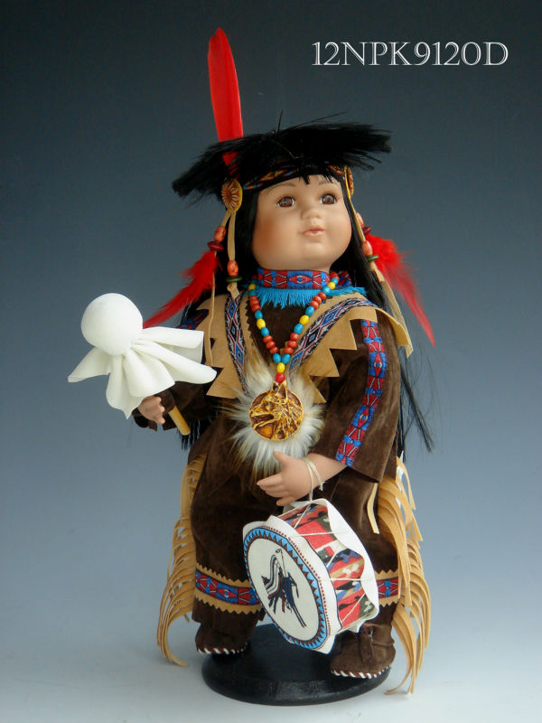 "Porcelain 12"" Native American Indian Doll"