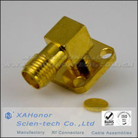 RF connector SMA female right angle flange mount