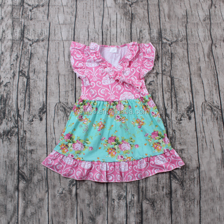 Fashion Design Small Girls Party Wear Western Dress Cute Flower Little Girls Pageant Dresses From China
