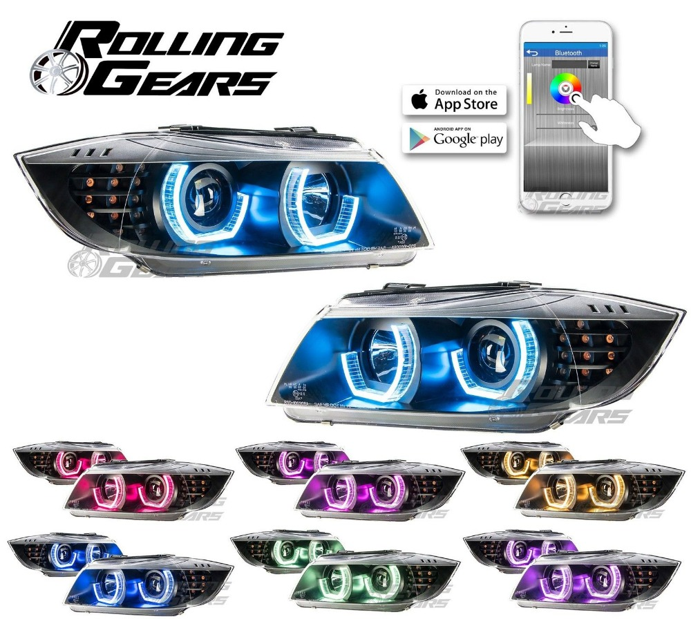 Projector Headlights <strong>w</strong>/ RGB Multi-Colors LED Angel Eye For BMW E90 E91 09-12 BK