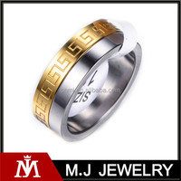 Quality factory gold plated surgical engagement stainless steel ring for men MJ-R01122