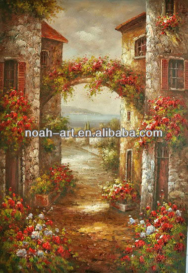 Mediterranean village landscape paintings