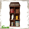 Wall mount wood commercial coffee counter cup holders, vintage wood coffee display rack, compartment kitchen shadow box