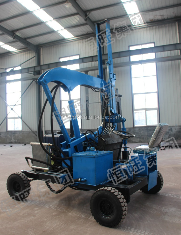Mini Wheel Tractor Pole Anchor Hydraulic Pile Driver For Photovoltaic Installation