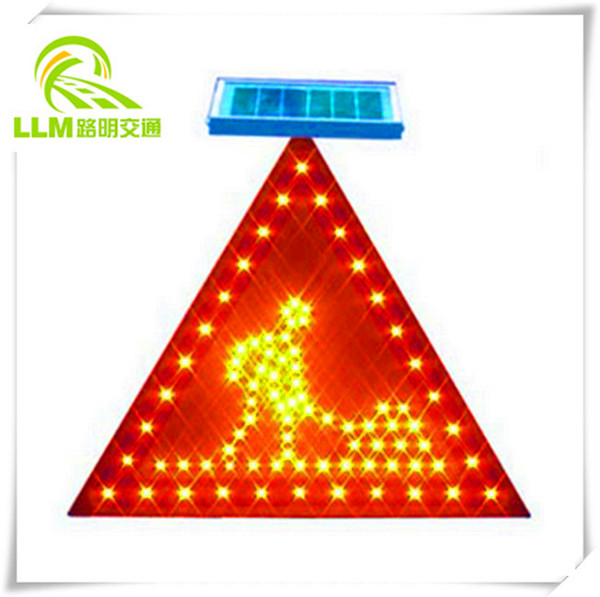 Sync blinking triangle LED pedestrian crossing sign traffic warning light
