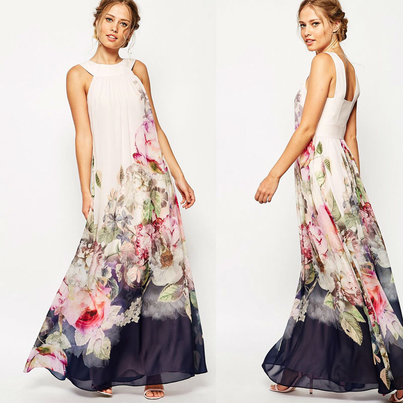 New Summer Women Sleeveless Chiffon Big Peony Floral Print Long Ball Maxi Beach Dress 2015