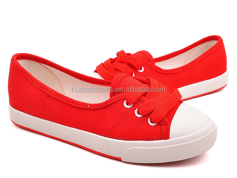 2015 new products bright red canvas shoe size chart made in China