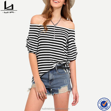 guangzhou women clothes black white striped off shoulder loose t-shirt