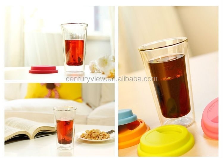 Hand Made 100 Heat Resistant Glass Cup with Silicone Lid