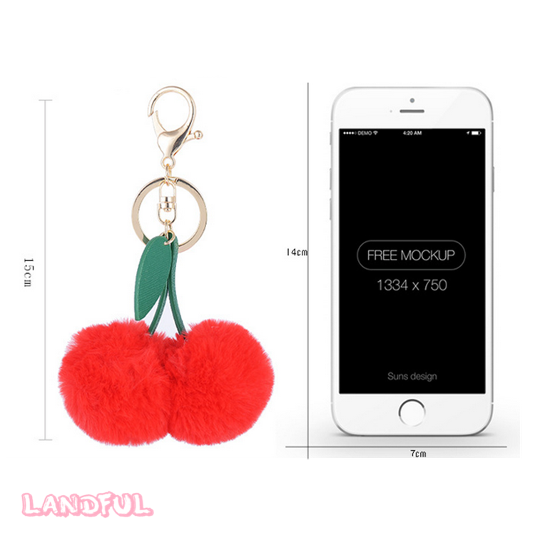 Wholesale Fantastic Bag Charm Keychain Cherry Key Chain With Faux Fur Pompom For Gift