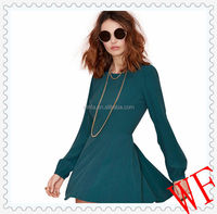 Hot!2014 High fashion sexy Women Autumn long Puff Sleeve Backless Short Green Dress