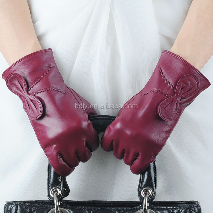 wine red color dress leather gloves