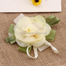 new design white pretty chiffon fabric ribbon flower for girl dresses gift decoration