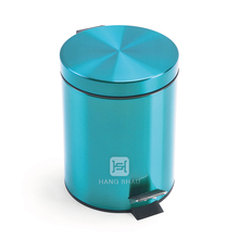 5L colored stainless steel household rubbish bin/trash bin/step bin