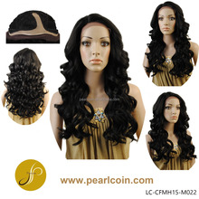 Lace Front Synthetic Wig Black Big Curl Japanese Hair Fiber