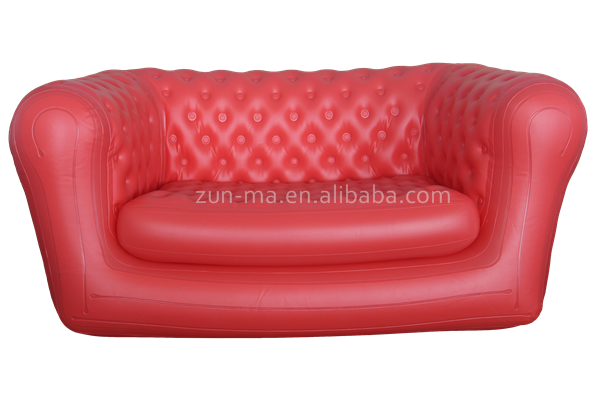 OEM red customized inflatable PVC two seater plastic sofa