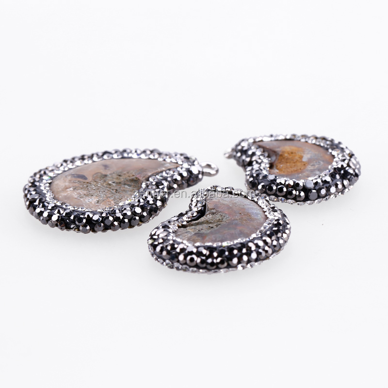 wholesale agate druzy pendants big stone pendant with silver bail