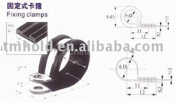 stainless steel fixing hose clamp with rubber cushioned