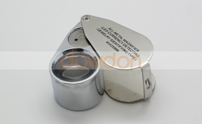 40X Illuminated Jeweler LED UV Lens Loupe Magnifier with Metal Construction and Optical Glass