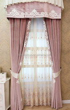Interior Grandeur Classic Romantic Princess Style Floral Pink Velvet Curtain with Valance BF11-10243g