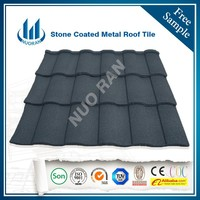 Nuoran low price 0.4mm steel roof tile sand coated/ metal roofing shingle