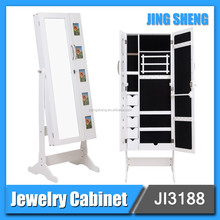 Modern Living Room Furniture Wooden White Cheap Floor Standing Mirrored Jewelry Cabinet