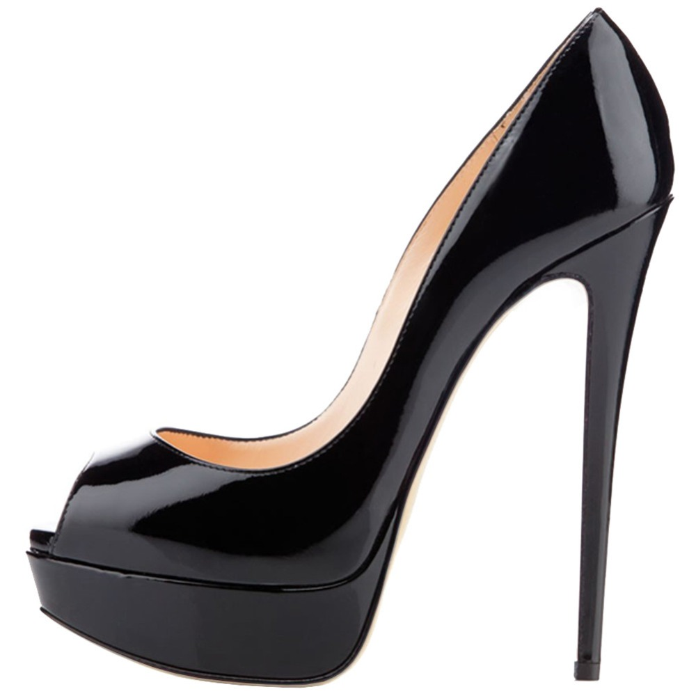 patent black woman shoe heeled stiletto peep toe shoe
