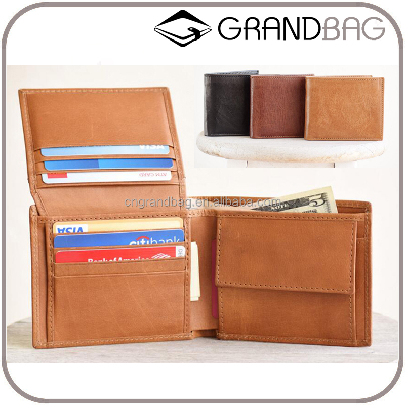 Hot Selling Minimalist Men's Genuine Cow Leather Travel Wallet with Coin Pocket Designer Card Wallet for Men