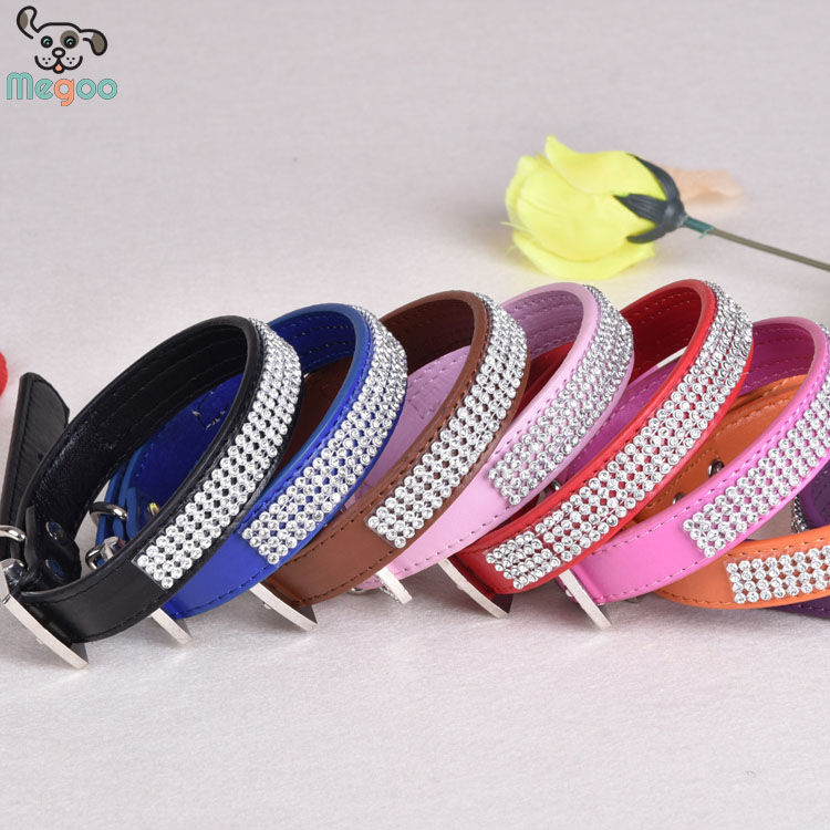 Top -End PU Rhinestone Dog Collar Adjustable Pet Collars For Small Dog