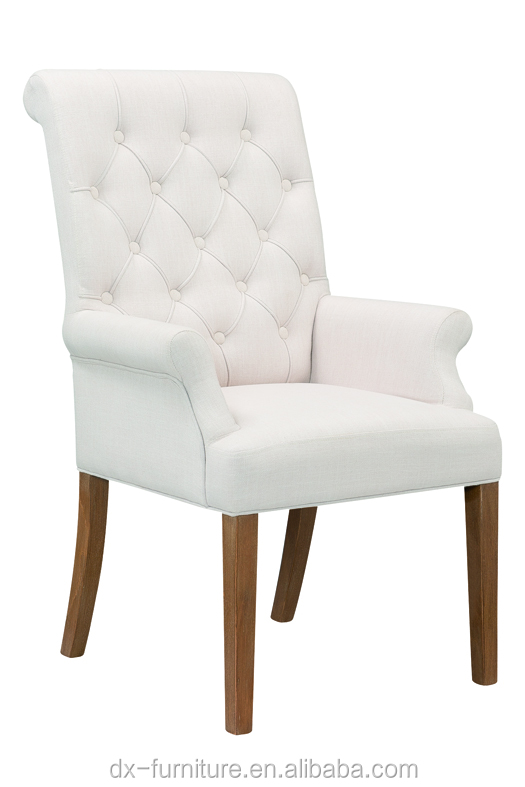 China-made big modern white fabric dining chair