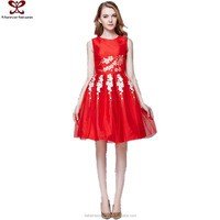 2016 Spring Summer New Fashion Gauze Red Color Princess Engagement Dress