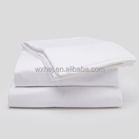 Wholesale 100 Coton White Plain Hotel Double Flat Bed Sheet Sets 4 Pieces For Hotels and Motels