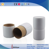 white elegent custom cheap round tube cardboard leather single bottle wine box for wholesale