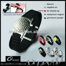 trendy black silicone bracelet with golf ball marker designed for mens wrist size