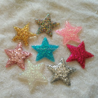 Fashionable 38MM Mixed Color Glitter Star Resin Cabochons