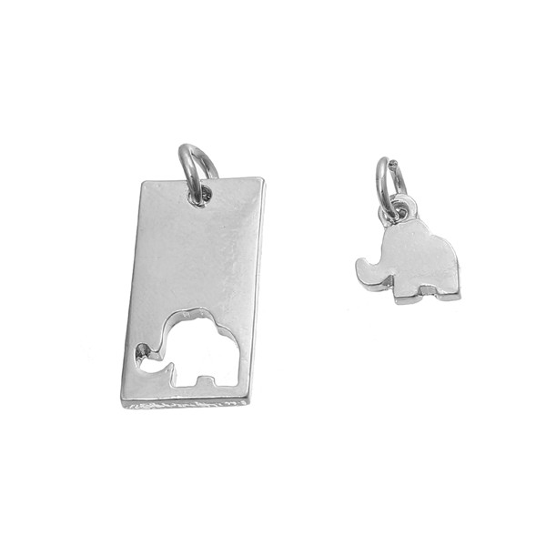 Zinc Based Alloy Mother Daughter Charms Rectangle Silver Tone Elephant Engrave Metal Pendants