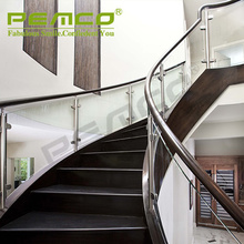 China Top 5 Glass Handrail Manufacturer Modern Design Stainless Steel Glass Railing Model Interior Stair Tempered Glass Railing
