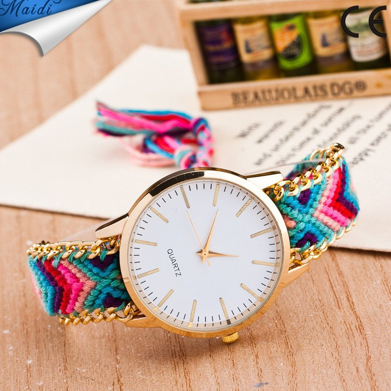 Handmade Braided Friendship Bracelet Hand-Woven wristwatch Ladies Quartz Watch Rope GENEVA Watch Ladies Quarzt Watches GW081