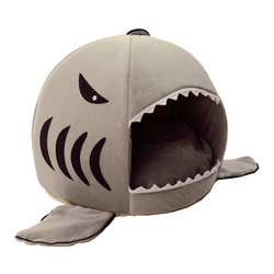 Shark Pet House Washable Cat Cave Bed with Removable Cushion and Waterproof Bottom for Small Pet up to 10 Pounds