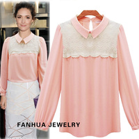 Beige Pink Chiffon Double-Layer Lace Patchwork Fashion New Blouses&Shirts for Beautiful Women's Clothing